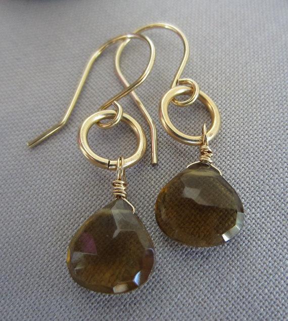 14 K Gold filled Earrings Wiskey Beer Quartz Earrings Gold filled wire Earrings Brown Earrings Gemstone Earrings