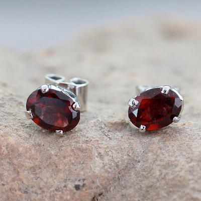 3 Carat Garnet Stud Earrings