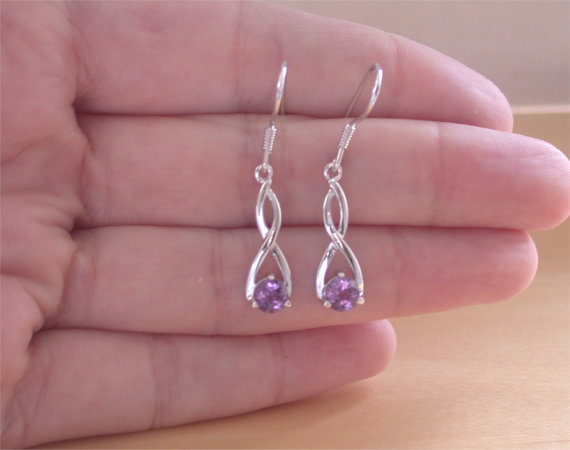 925 Amethyst Earrings Sterling Silver Amethyst Earrings Purple Gemstone Birthstone