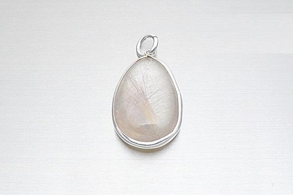 925 Sterling Silver Rutilated Quartz Pendant, Gemstone jewelry, Rutilated Quartz Jewelry