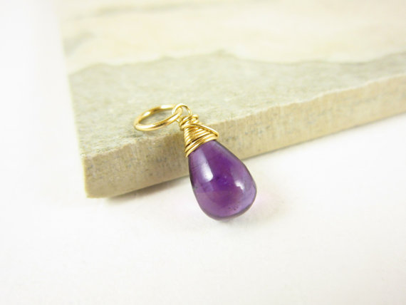African Amethyst Pendant - Natural Amethyst Jewelry - February Birthstone Jewelry - Mommy Necklace Charm - Mommy Jewelry - Purple Stone