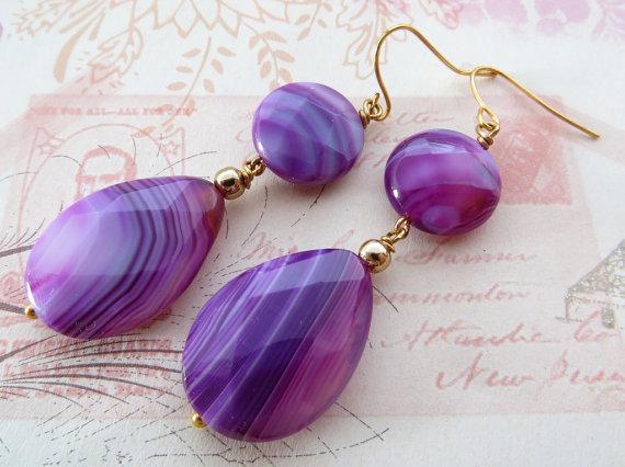 Agate earrings, drop earrings, purple gemstone earrings, teardrop earrings, uk stone jewelry, dangle earrings, italian jewellery,