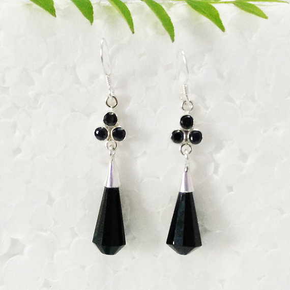 Amazing BLACK ONYX Gemstone Earrings, Birthstone Earrings, Fashion Handmade Earrings, 925 Sterling Silver Earrings, Dangle Earrings