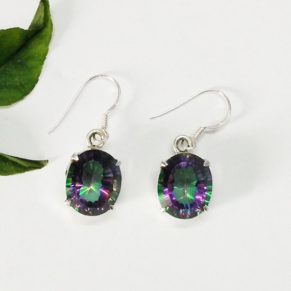 Amazing MIDNIGHT MYSTIC TOPAZ Gemstone Earrings - Birthstone Earrings - Fashion Earrings - Handmade Earrings - Dangle Earrings