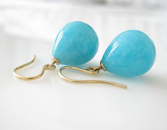 Amazonite Drop Earrings, Gold Filled, Amazonite Drops, Gemstone Earrings, Blue Earrings