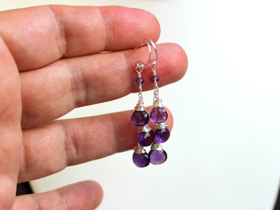 Amethyst Earrings Dangle Sterling Silver Purple Gemstone Trio Briolette Earrings