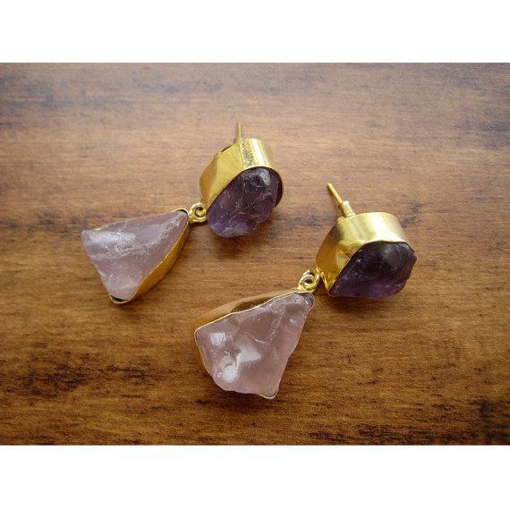 Amethyst Earrings Rose Quartz Earrings Gold Earrings Dangle Earrings Statement Earrings Gemstone Earrings Raw Amethyst Raw Rose Quartz