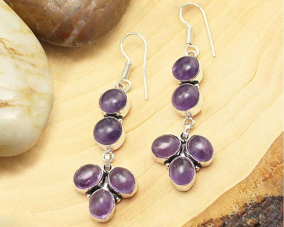 Amethyst Earrings, Silver Amethyst Earrings, Crystal Earrings, Gemstone Earrings, Dangle Earrings, Boho Earrings, Purple