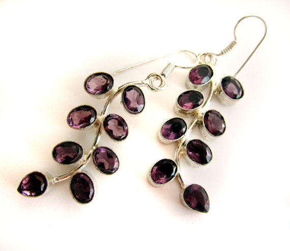 Amethyst Earrings,Silver plated,Dangle jewelry,Chandelier flower earrings,Gemstone jewelry by Taneesi
