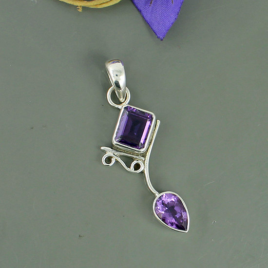 Amethyst Gemstone Pendant, 925 Sterling Silver February Birthstone Pendant, Bezel Set Christmas Gift, Unique Gift Jewelry