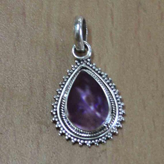 Amethyst Gemstone Silver Pendant & Classic Design Pear Shape Fashion Pendant for Man - Women - Buy Pendant - Drop Pendan