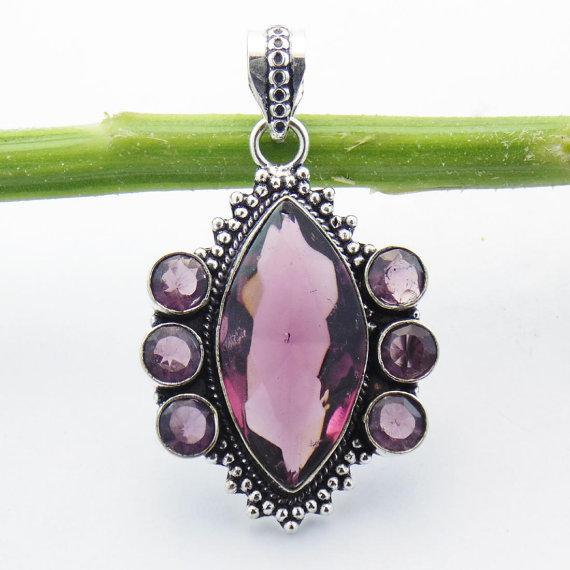 Amethyst Hydro Silver Pendant - Amethyst Hydro Vintage Jewelry - Designer Xmas Gift Jewelry