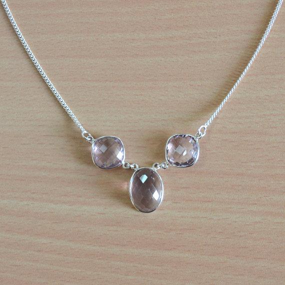 Amethyst Necklace - Gemstone 925 Sterling Silver Necklace - Purple birthstone jewelry - Genuine gemstone necklace - adjustable Necklace