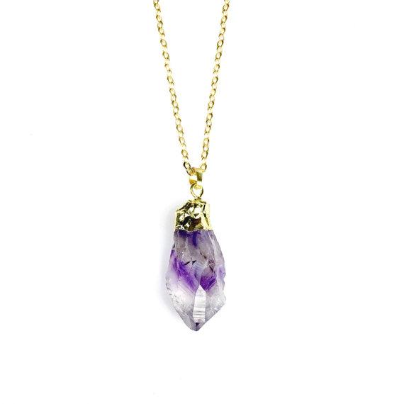 Amethyst Necklace - Raw Amethyst, Amethyst Crystal, Amethyst Pendant, Amethyst Points, Gold Amethyst, Amethyst Nugget, Gemstone