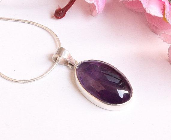 Amethyst Pendant - Purple pendant - Bezel set pendant - gemstone pendant