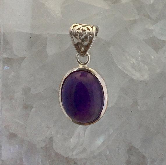 Amethyst Pendant Amethyst Jewelry Gemstone Pendant Gemstone Jewelry Dark Purple Pendant
