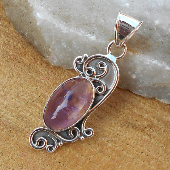 Amethyst Pendant, Designer Pendant, Silver Pendant, Oval Shape Pendant, Fine Silver Pendant, Oxidized Silver Pendant