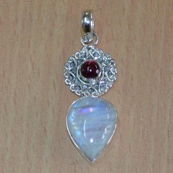 Amethyst Pendant, Gemstone Pendant, Rainbow Moonstone & Amethyst Pendant 925 Sterling Silver Pendant,Bezel Set Necklace,purple Pendant