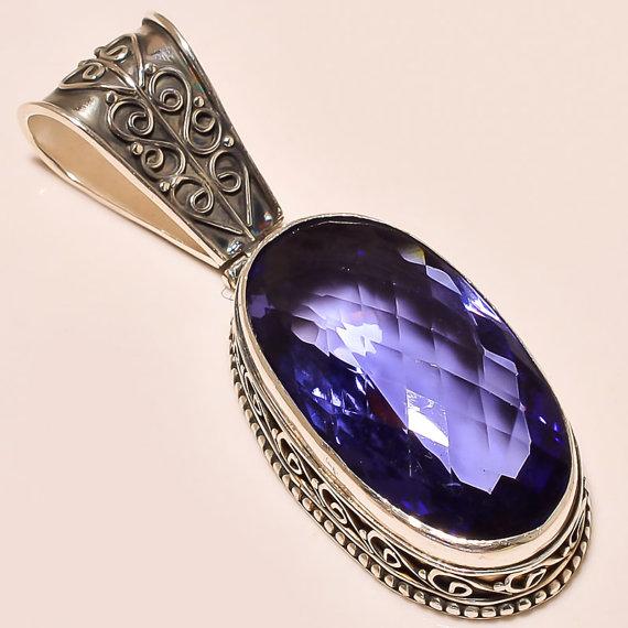 Amethyst Pendant, Silver Pendant, Vintage Art Chain Pendant, .925 Silver Pendant, Gift Jewelry