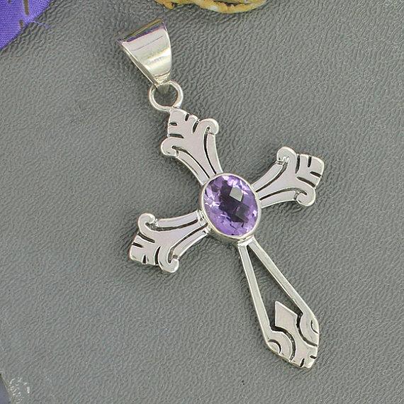 Amethyst Pendant, Solid Sterling Silver Pendant, Designer Pendant, Purple Gemstone Pendant Jewelry, February Birthstone Pendant