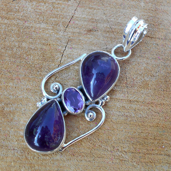 Amethyst Pendant, Sterling Silver Pendant, Designer Pendant, Gemstone Pendant, Handmade Jewelry, Fine Silver Pendant, Birthstone Jewelry