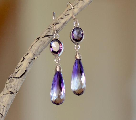 Amethyst Sterling Silver Teardrops Earrings. Bi Color Purple - Clear Amethyst Gemstone Earrings. Fine Statement Jewelry.
