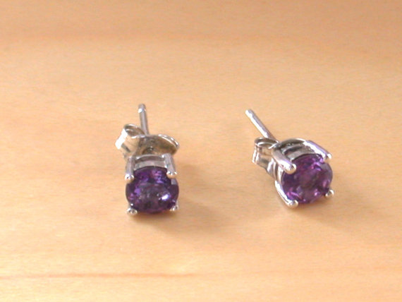 Amethyst Stud EarringsSterling Silver Amethyst Earrings Purple Gemstone Earrings Amethyst jewelry