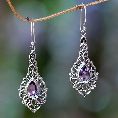Amethyst and Sterling Silver Handcrafted Earrings, 'Rapture