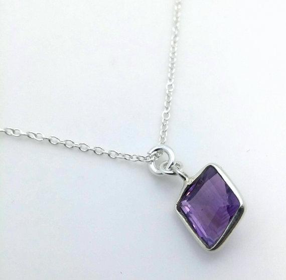 Amethyst gemstone pendant - modern free form Amethyst in sterling silver bezel - crown chakra - February birthstone - Pisces - deep purple