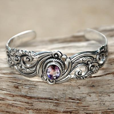 Amethyst on Floral Theme Sterling Silver Cuff Bracelet