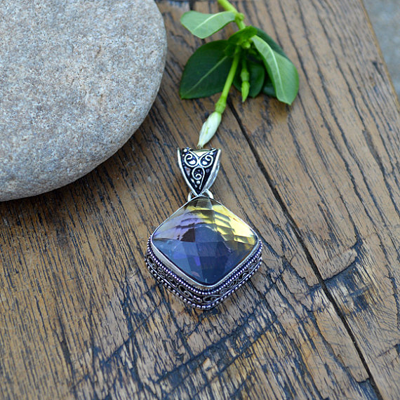 Ametrine Gemstone Pendant- Edwardian Style Designer 925 Silver Pendant- Solitaire Square Cut Purple Yellow Pendant- Fine Gift Jewelry