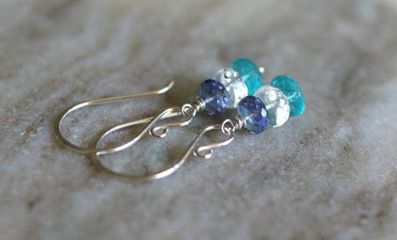 Apatite earrings, Iolite earrings, moonstone earrings, holiday gift for her, silver ear wires, apatite jewelry, multi gemstone earrings