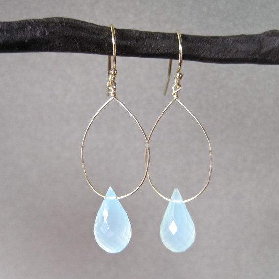 Aqua Chalcedony Drop Earrings - Gold Earrings - Gemstone Earrings