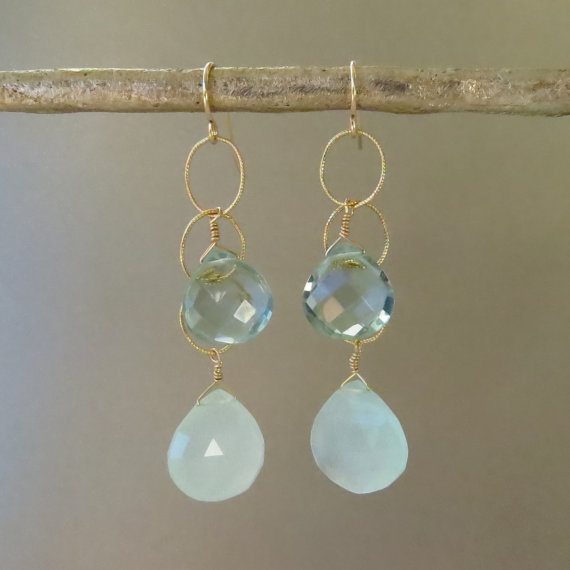 Aqua Chalcedony Earrings with Blue Quartz Accents