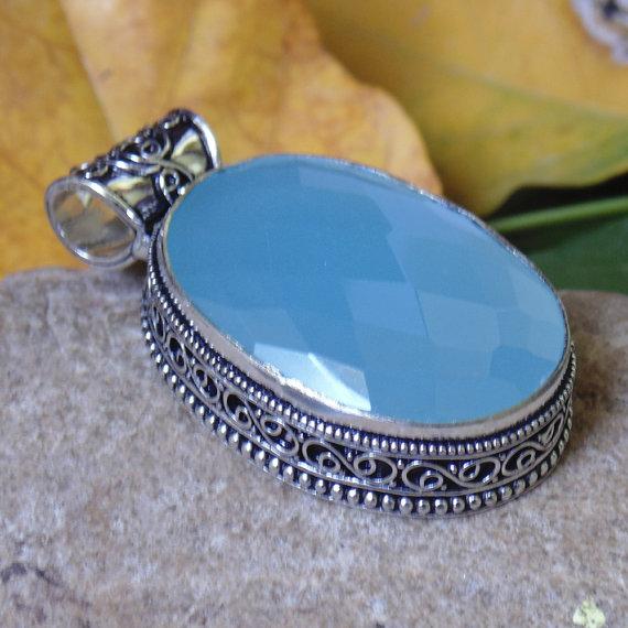 Aqua Chalcedony Pendant - Checker Cut Stone Pendant - Designer Pendant - Indian Handmade Pendant - Stylish Pendant - Fancy Pendant