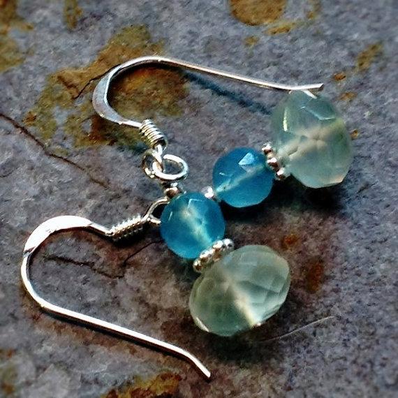 Aqua chalcedony earrings made in 925 sterling, drop dangle earrings, gemstone earrings,delicate earrings, beaded, minimalist jewelry