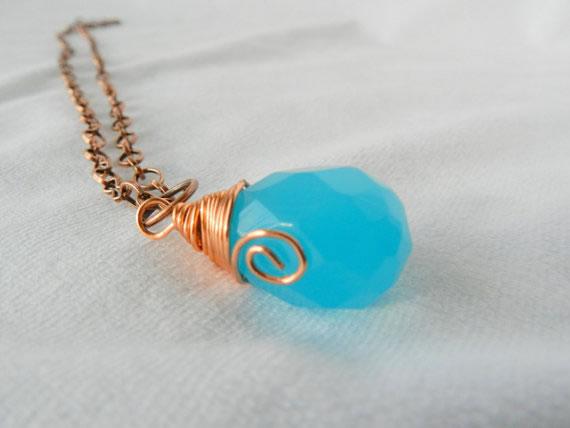 Aqua chalcedony pendant