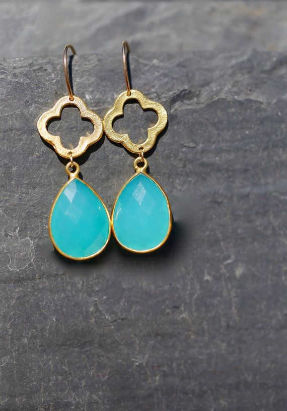 Aqua gemstone Earrings clover earrings quatrefoil jewelry aqua chalcedony Gold bezel set gemstone earrings