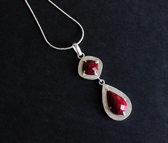 Artisan Ruby pendant - Ruby pendant - Bezel pendant - Gemstone Pendant