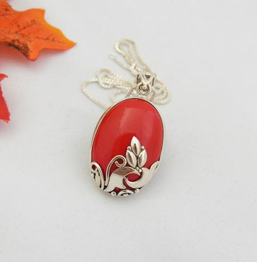 Artisan pendant - coral pendant - Red Coral pendant - Bezel pendant - Oval pendant - Gemstone pendant