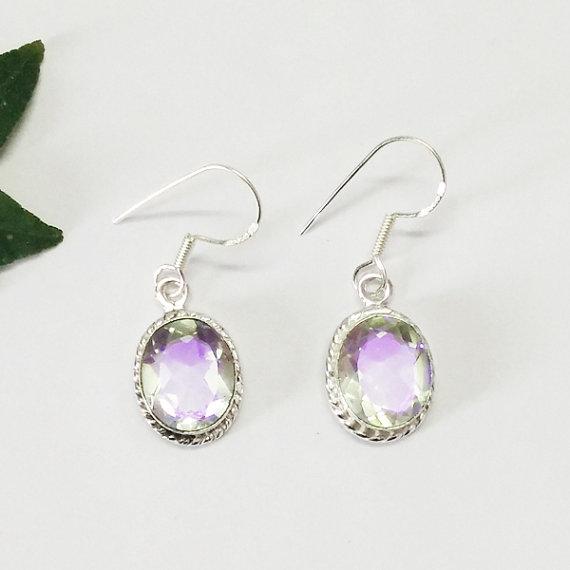 Attractive RAINBOW MYSTIC Gemstone Earrings - Birthstone Earrings - Fashion Earrings - Handmade Earrings - Dangle Earrings