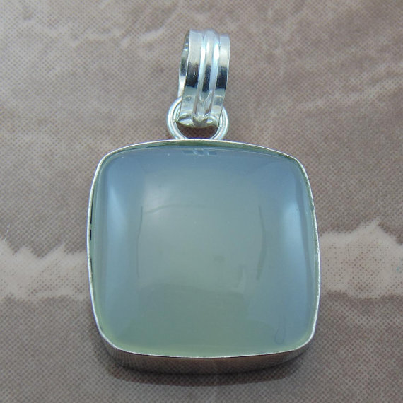 Awesome Aqua Chalcedony Hand Made Pendant - Cabochon Jewelry