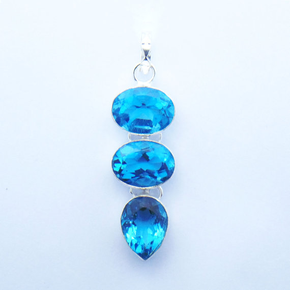 Awesome Blue Quartz 12.6 Gms Silver Pendant- Attractive Pendant-Oval Pear Shape Jewelry-Lovely Gift -Cut Quartz Handmade Pendant
