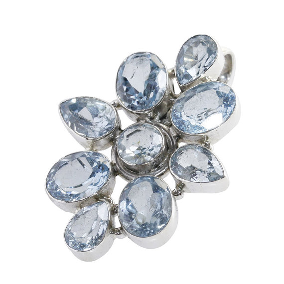 Beautiful Blue Topaz Pendant Handmade Gemstone Jewelry With Sterling Silver Metals