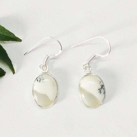 Beautiful DENDRITIC OPAL Gemstone Earrings - Birthstone Earrings - Fashion Earrings - Handmade Beach Earrings - Dangle Earrings