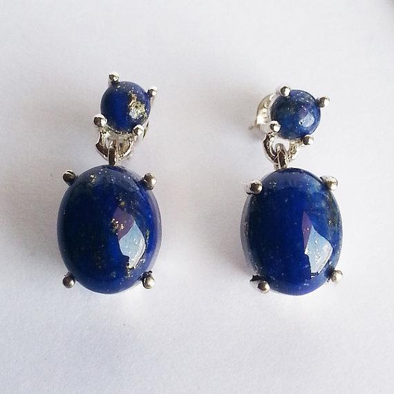 Beautiful LAPIS LAZULI Gemstone Earrings - Birthstone Earrings - Handmade Fashion Earrings - Beach Earrings - Love Gift - Stud Earrings