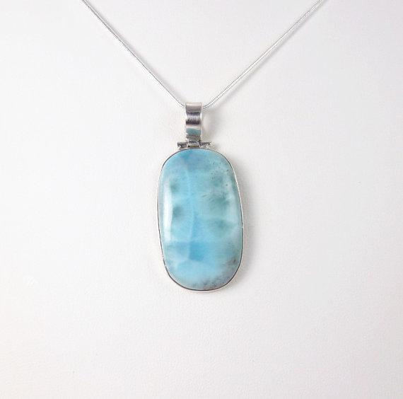 Beautiful Larimar Pendant Necklace, Dominican Larimar Silver Pendant , Caribbean Larimar Gemstone Jewelry