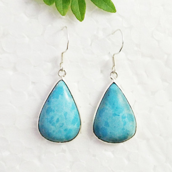 Beautiful STABILIZED LARIMAR Gemstone Earrings - Birthstone Earrings - Fashion Earrings - Handmade Earrings - Dangle Earrings