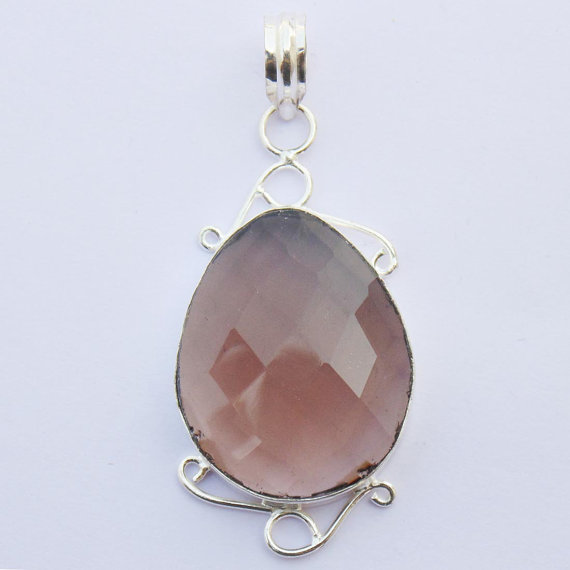 Beautiful Sterling Silver Smoky Quartz Pendant - Faceted Smokey Briolite Handmade Jewelry - Fancy Pendan