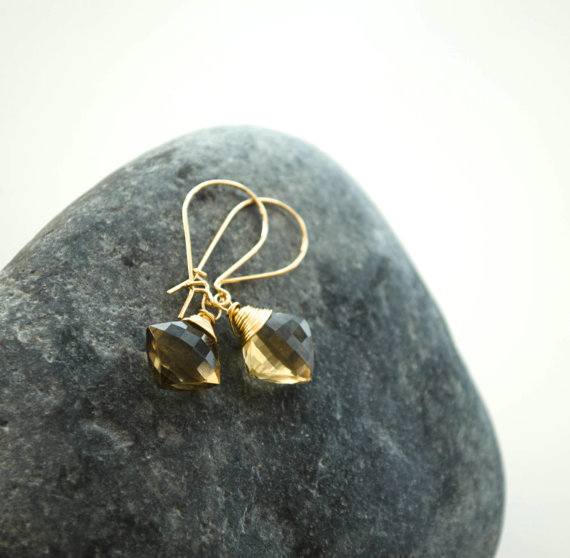 Beer quartz earrings, Square gemstone earrings, Brown teardrop earrings, Honey quartz earrings, Gold dangle earrings, Autumn brown earrings